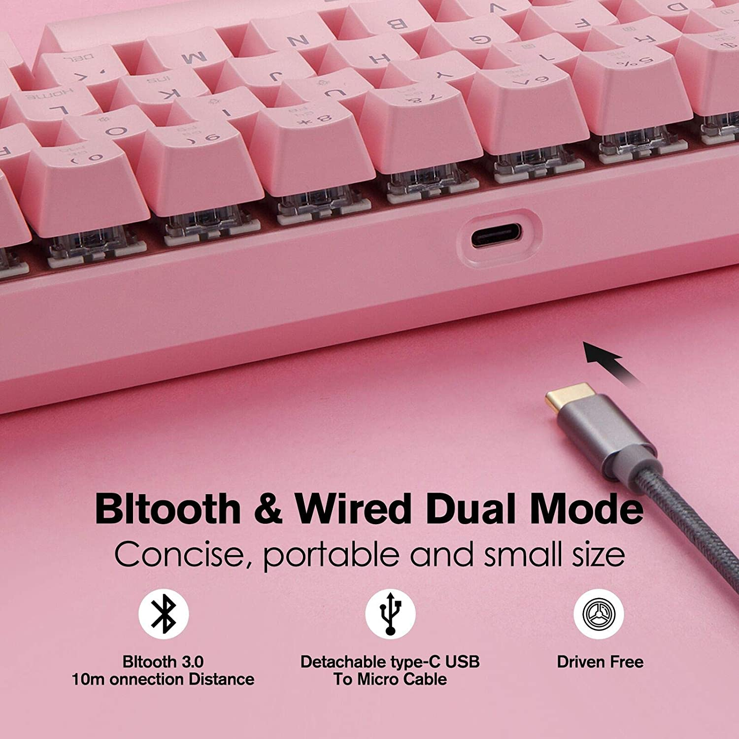 Motospeed 61 Keys Wired/Wireless 3.0 Mechanical Keyboard 60% RGB LED Backlit Type-C Office/Gaming Keyboard for PC/Mac/Linux/iPad/iPhone/Smartphone/Laptop Pink