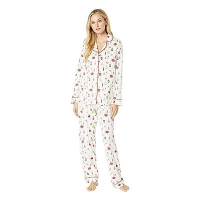 BedHead Pajamas Long Sleeve Classic Notch Collar Pajama Set (Deck The Halls) Women
