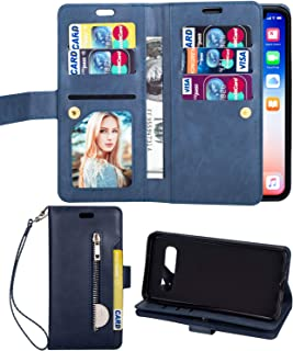 Aweevnye Samsung Galaxy S10 Case, Galaxy S10 Wallet Case, Multi-Function 10 Credit Card Holders Flip Wallet Leather with Zipper Coins Magnetic Purse Cover for Samsung Galaxy S10 6.1 inch Blue