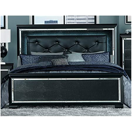 Amazon Com Thaweesuk Shop Silver Black Mirrored Led Lights King Bed Bedroom Furniture New Wood Mirror Led Lights 84 5 L X 79 5 W X 60 H Kitchen Dining