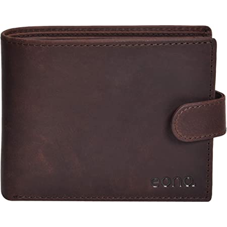 Amazon Brand - Eono Geniuine Leather Wallet with RFID for Men-Coin comparment Multi Credit Card Slim Wallets (Brown Hunter)