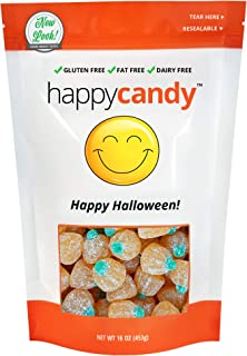 Happy Candy Sour Jelly Pumpkins - Happy Halloween - Gluten Free, Fat Free, Dairy Free - Resealable Pouch (1 Pound)