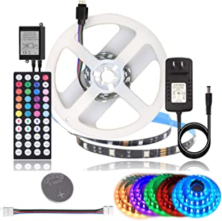 BIHRTC DC 12V LED Strip Lights SMD 5050 RGB 3.28Ft(1M) Not Waterproof IP20 Black PCB Board Lighting 30leds/m 44 Keys IR Remote Controller 1A UL Power Adapter for Xmas Party Bedroom Indoor Decoration