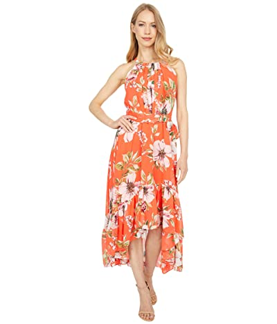 Vince Camuto Printed Chiffon Halter Dress High-Low