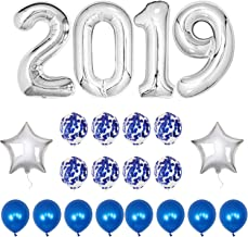 2019 Balloons Blue Confetti - Blue 2019 Graduation Party Balloons Decorations Large Silver 2019 Balloons with 8 Blue Confetti Balloons and 8 Blue Latex Balloons and 2 Silver Star Mylar