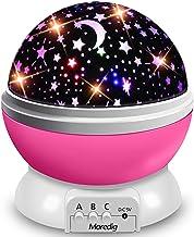 Moredig Nachtlampje sterrenhemel projector, babylicht 360° rotatie LED sterrenlicht lamp sterrenhemel projector met 8 gekl...