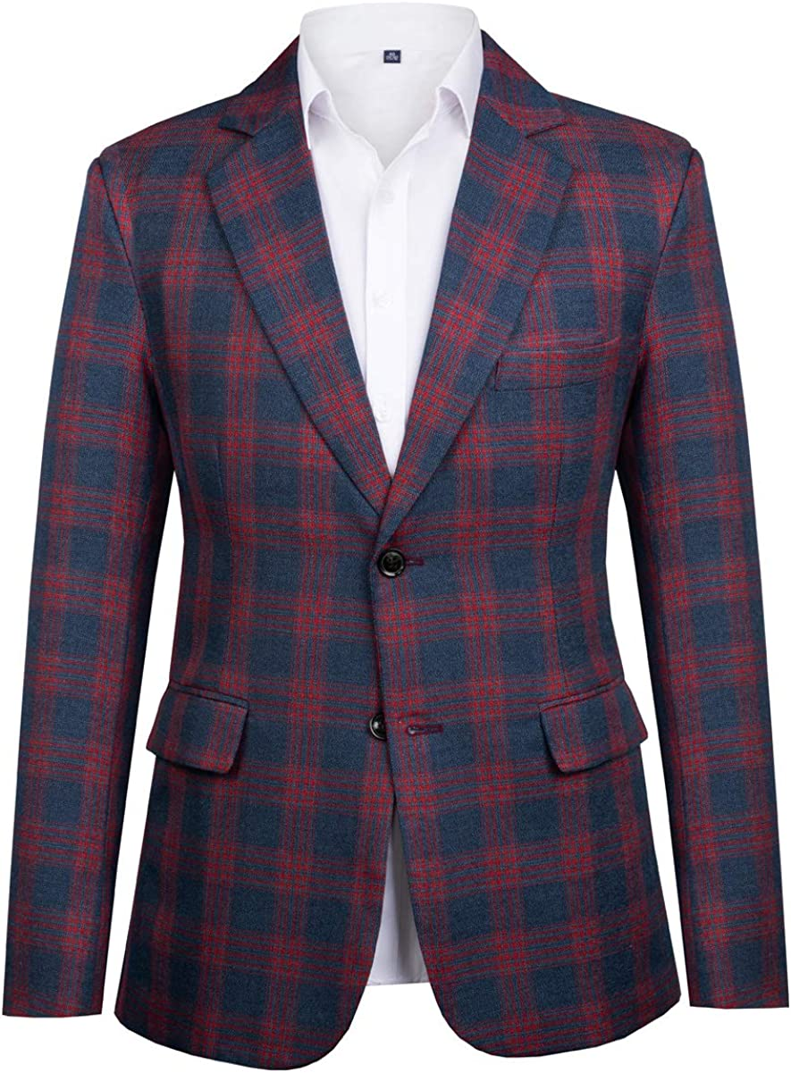 CMDC Men's Two Buttons Slim Fit Blazer Paisley Notch Lapel Pocket Causal Jacket