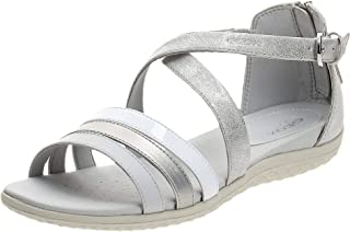 Geox Sand.Vega, Women's Fashion Sandals, Silver (Silver/White), 40 EU