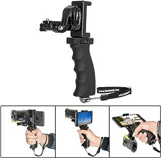 Fantaseal 3en1 Soporte de empuñadura ergon¨®Mica + Clip de Tel¨¦Fono J-Hebilla de Gancho estabilizador de luz con 1/4  de Tornillo y Gran Plataforma Micro Pantalla para Gopro Sony cámara de acción