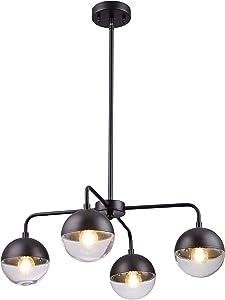 "Loclgpm 23.6"" Modern 4-Light Black Globe LED Sputnik Chandelier,Indoor Plug in Cord Ceiling Fixture Pendant Lighting with Glass Shade Hanging for Kitchen Island,Dining Table,Bedroom,Living Room Decor"
