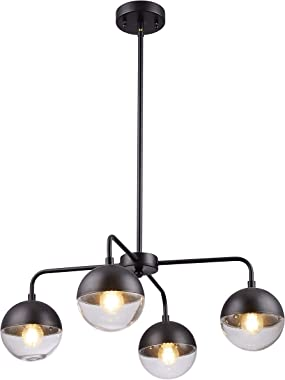 "Loclgpm 23.6"" Modern 4-Light Black Globe LED Sputnik Chandelier,Indoor Plug in Cord Ceiling Fixture Pendant Lighting with Glass Shade Hanging for Kitchen Island,Dining Table,Bedroom,Living Room Decor"