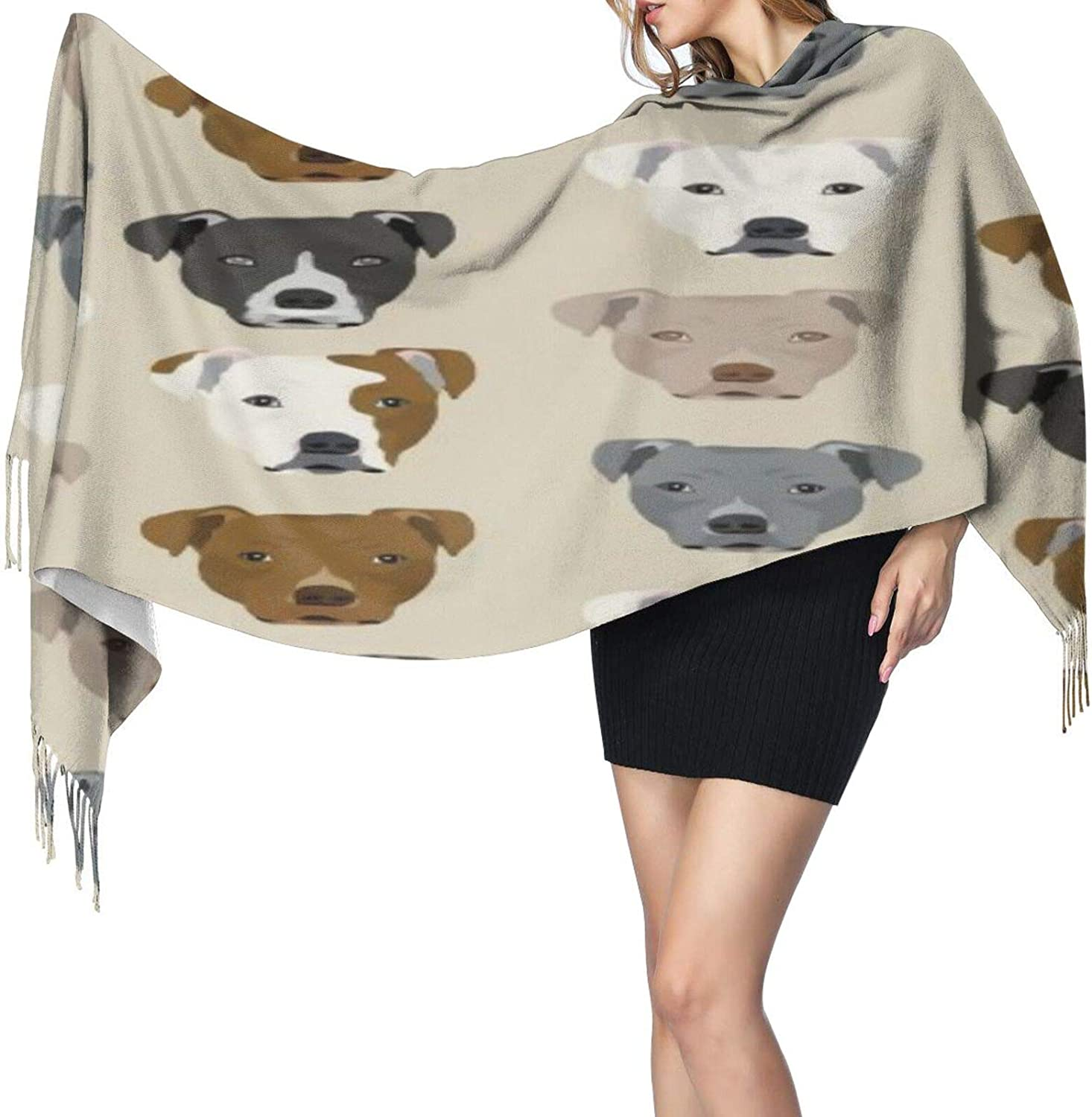 Cashmere fringed scarf Pitbull Heads winter extra large scarf