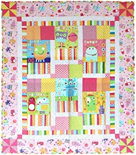 Pink Silly Monster Patchwork Quilt