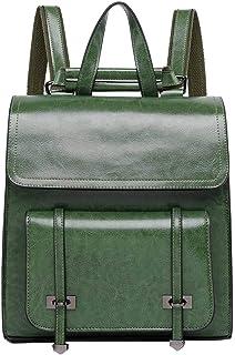 Neuleben Multifunktion Rucksack Umhängetasche Echtes Leder Damen Klein Daypack Schultertasche Lederrucksack Damentasche Vintage Handtasche mit Anti Diebstahl Grün