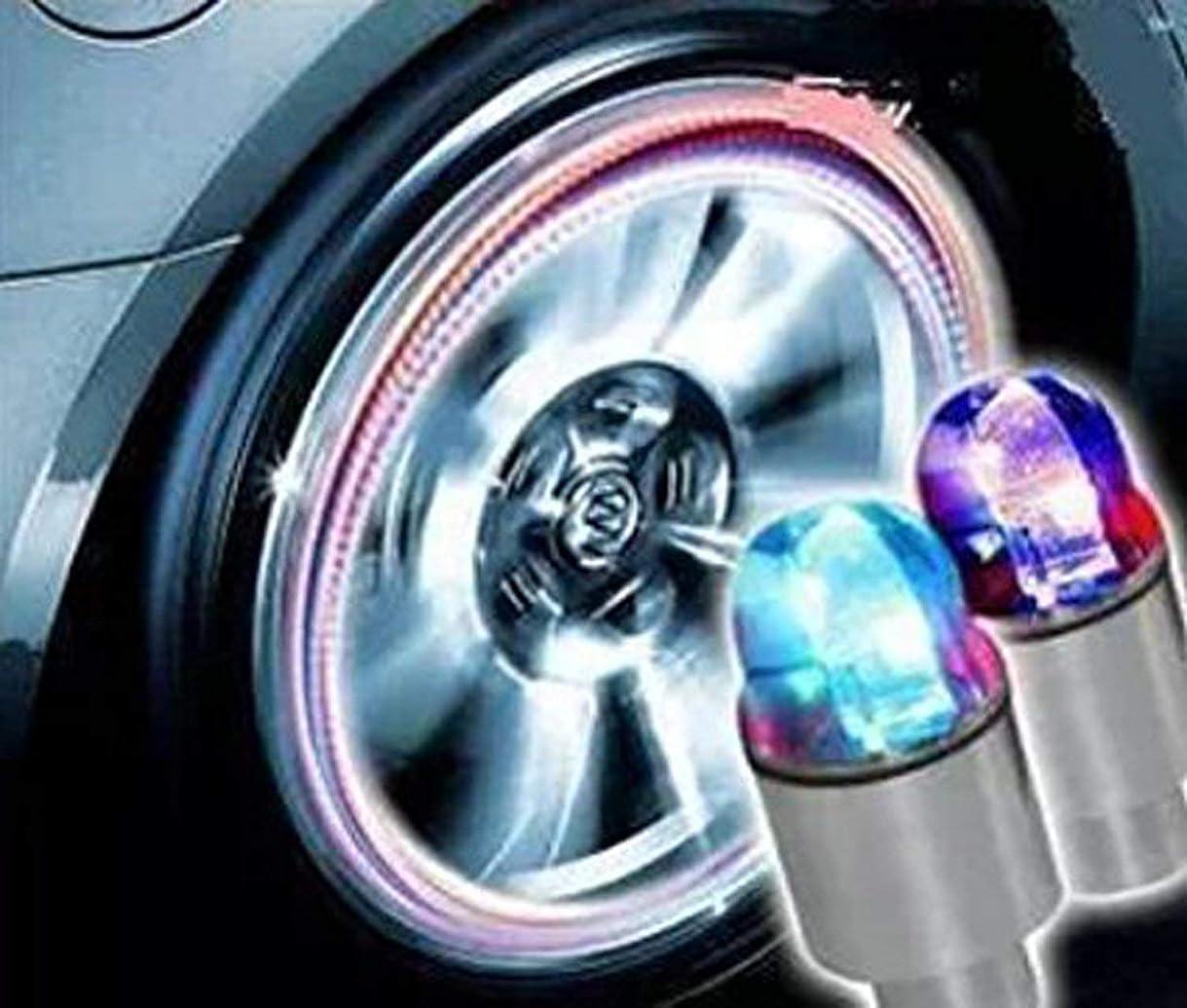 礼儀放置コーナー[Enseed アンシード] タイヤ バルブキャップ LED ライト センサー付き レインボー電池付き(自転車にも加) 4個