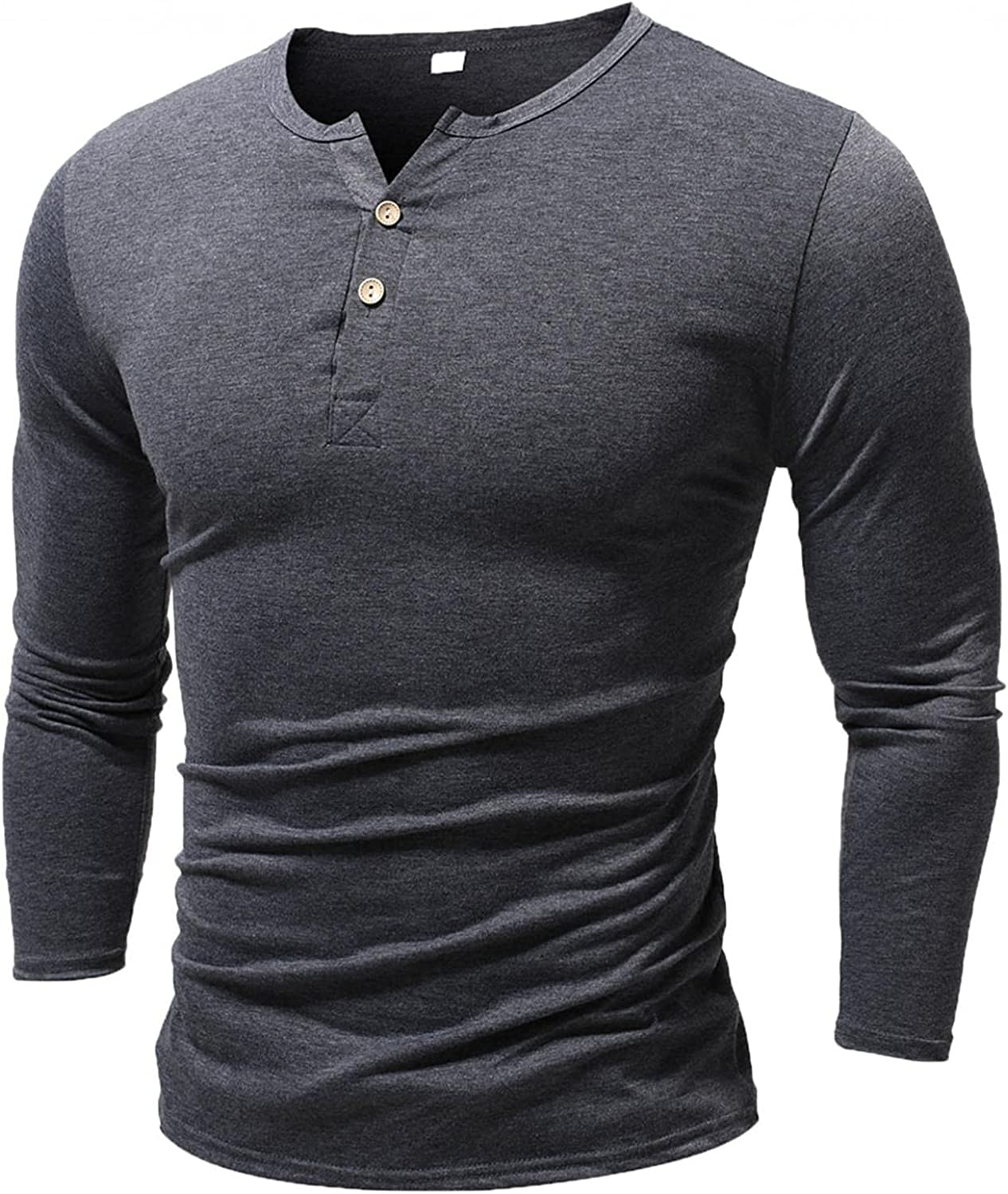 KEEYO Mens Casual Slim Fit Henley Shirts V-Neck Long Sleeve Basic Designer Lightweight Fashion Cotton Muscle Cut Off Tops