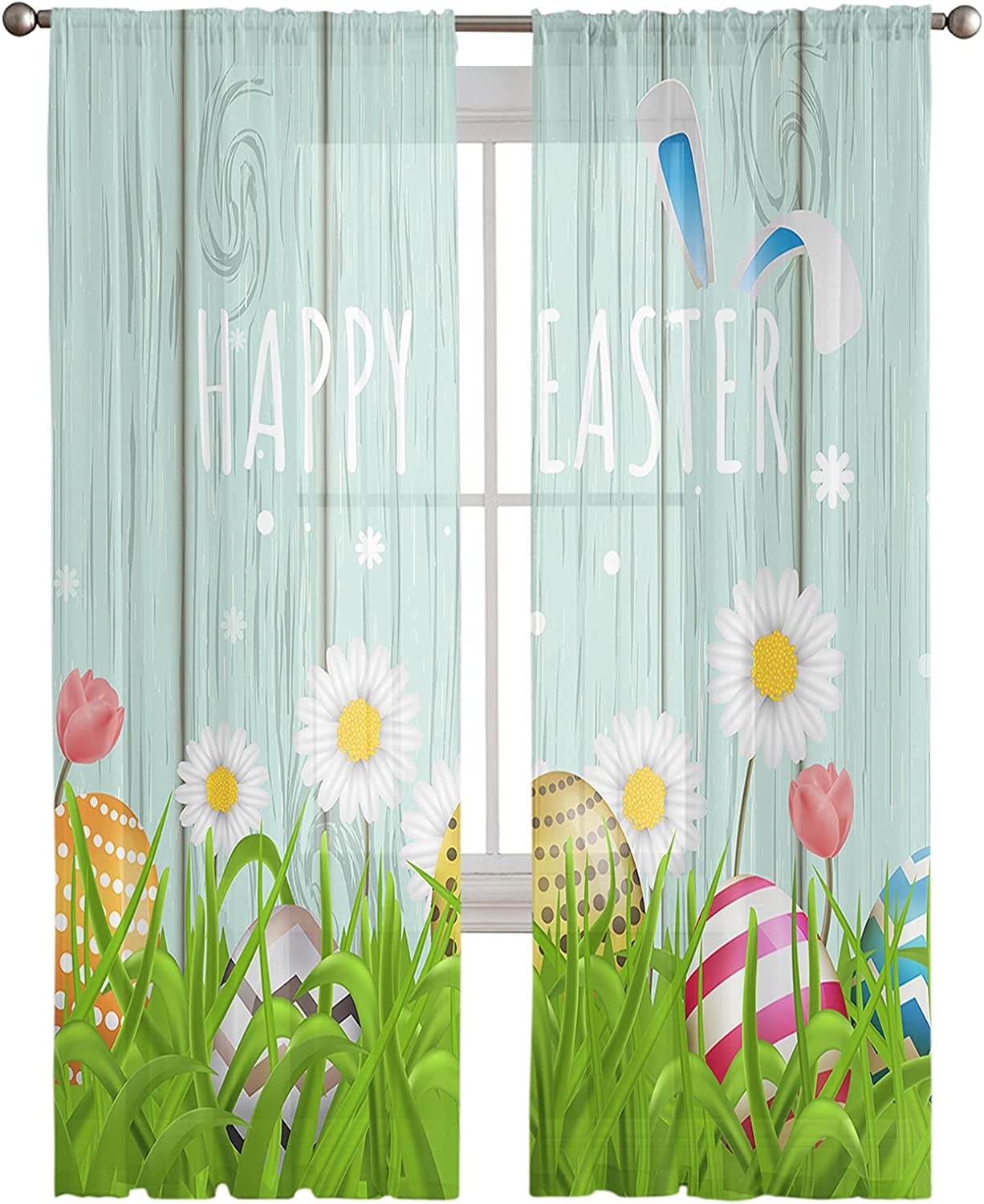 Sheer ふるさと割 Voile Curtains Draperies-Happy 流行 Easter Rabbit Wood Co Grain