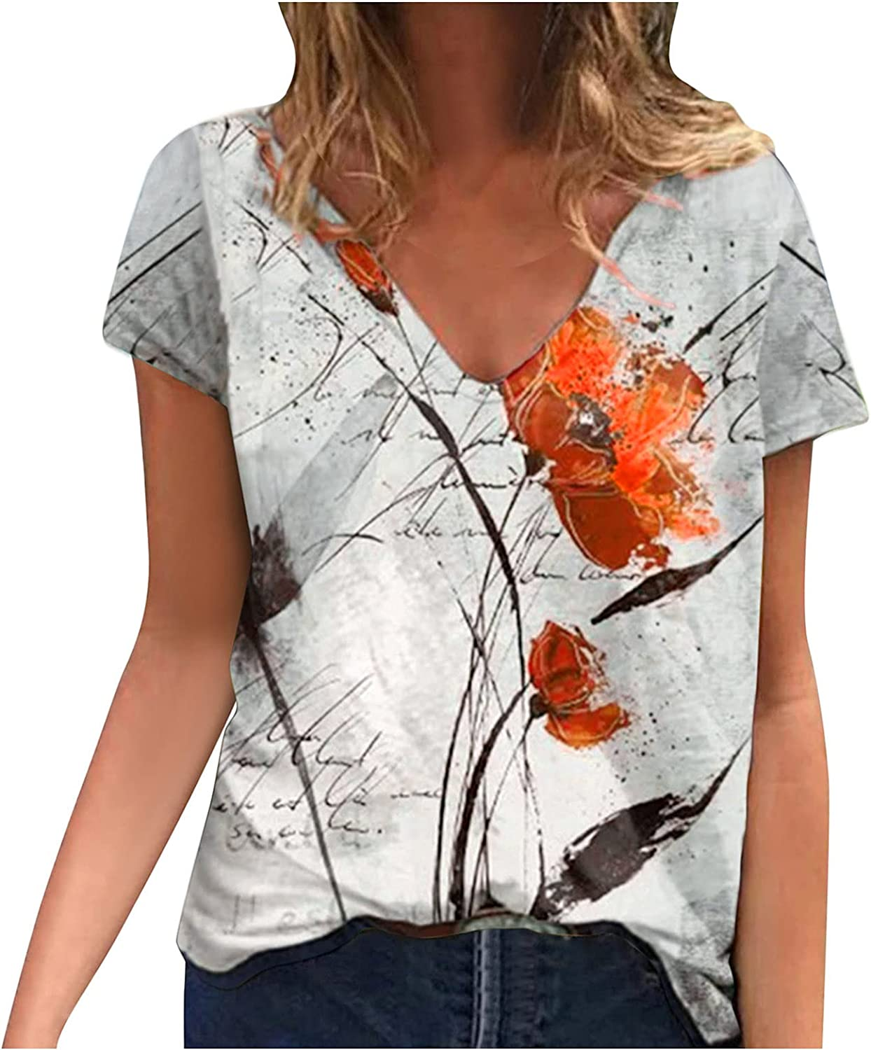 PLOIUUEW Summer Clothes Max 80% OFF for Women 25% OFF Tsh Short Shirts Sleeve V-Neck