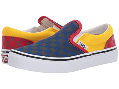 Vans Kids Classic Slip-On (Little Kid/Big Kid) ((OTW Rally) Navy/Yellow/Red) Boys Shoes