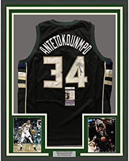 Framed Autographed Signed Giannis Antetokounmpo 33x42 Milwaukee Black  Custom Basketball Jersey JSA COA 150401f57