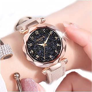 Dyshuai Pu Leather Wrist Watch Easy Reader Arabic Numerals Quartz Starry Sky Watch