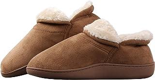 شباشب Joybery رجالية دافئة من جلد الغزال الصناعي مبطنة بالفرو رغوة الذاكرة خف مريح أحذية المنزل جزمة داخلية مانعة للانزلاق