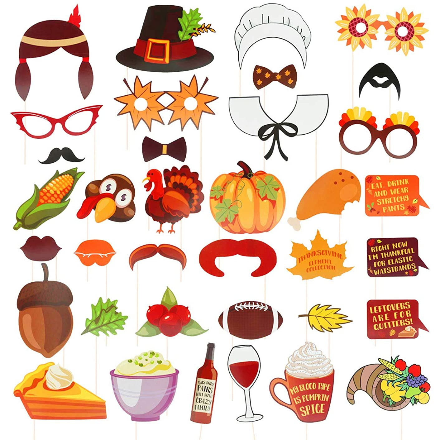 Thanksgiving Day Photo Booth Props 36pcs Colorful Party Favor Decorations Selfie Photobooth Dress-up Accessories Supplies for Festival Holiday Turkey Creative