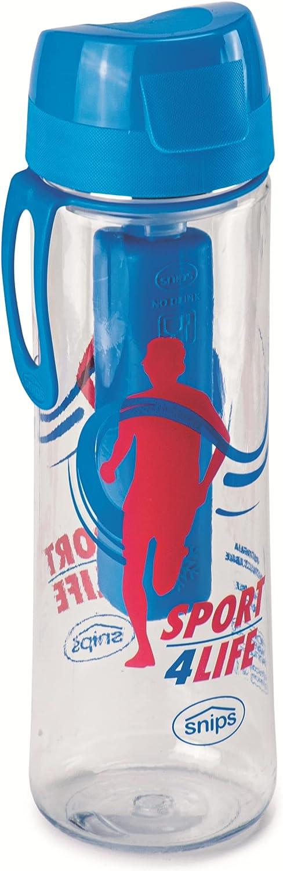 Snips Bottiglia in 0,75 LT con Ghiaccio Stick-Trasparente con decoro Sport Botella de tritán de 0,75 l con Barra de Hielo – Transparente con decoración Deportiva, Turquesa, 7.1 cm