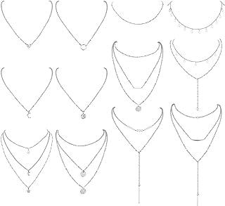 LOLIAS 12Pcs Layered Choker Necklace Y Necklaces for Women Girls Boho Multilayered Long Pendant Necklace Set