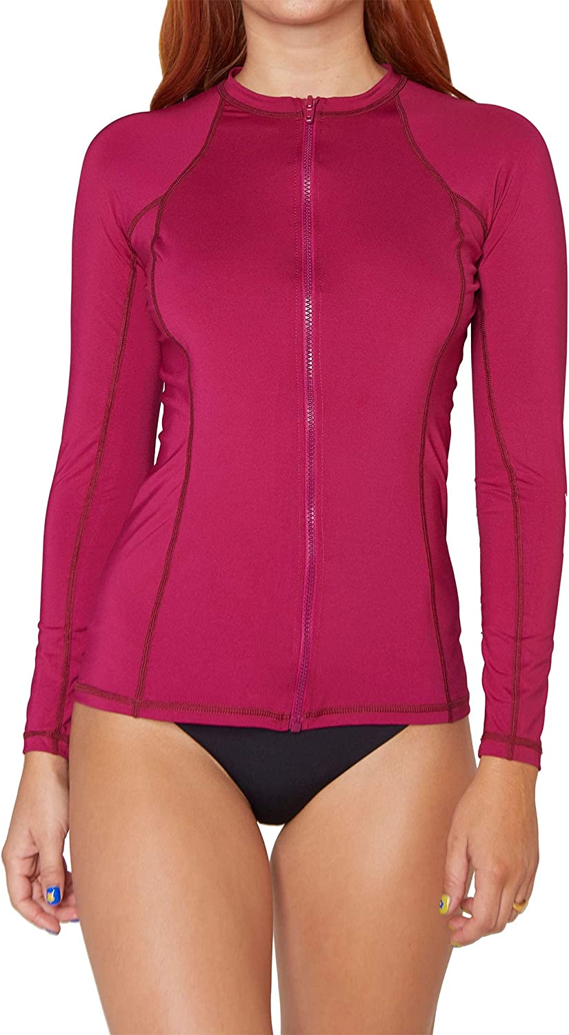 Hurley Women's One and Only Zip LS Rash Guard - Fireberry