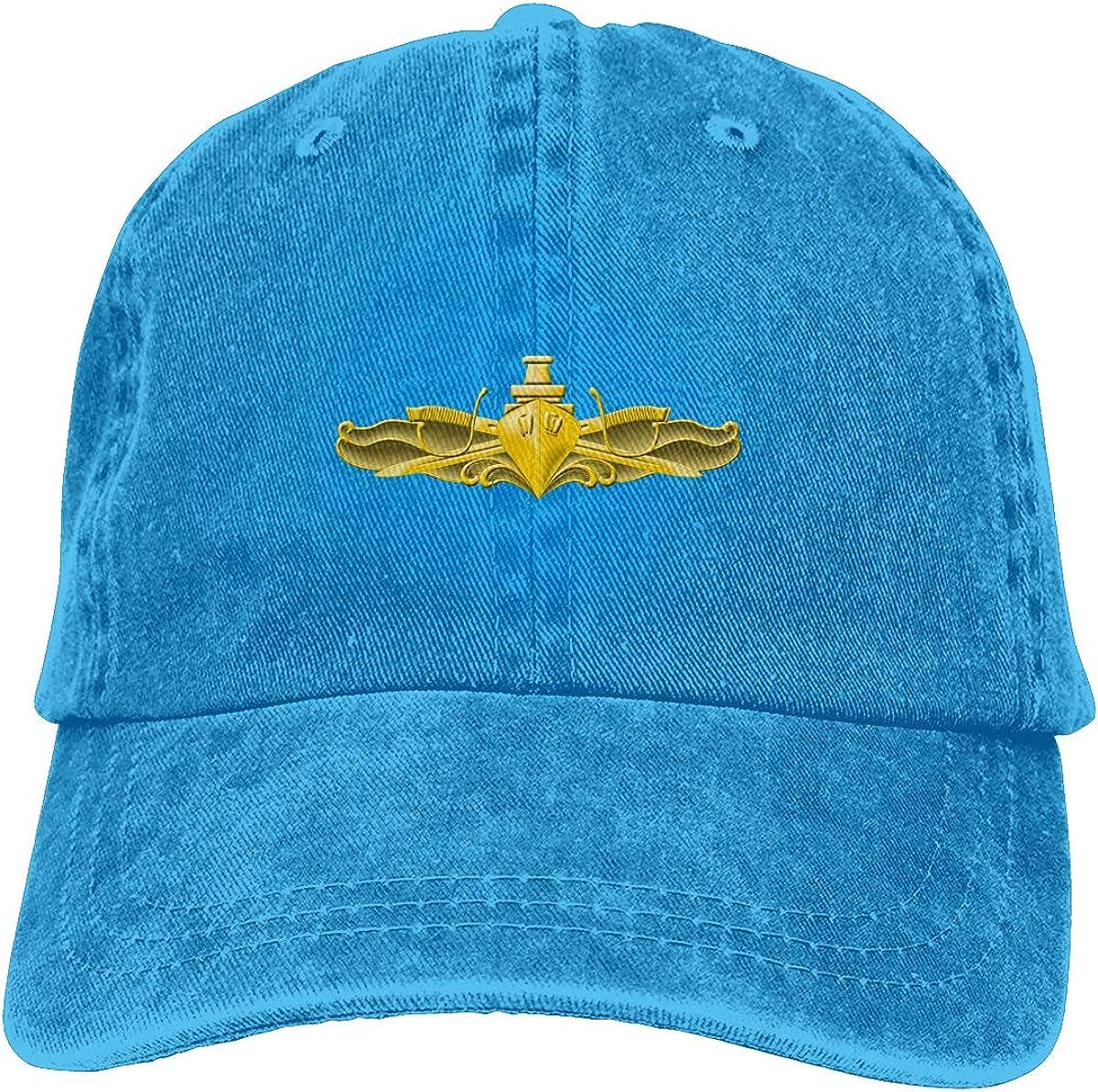 Unisex US Navy Surface Warfare Officer Vintage Washed Distressed Cotton Baseball Cap Adjustable Denim Dad Hat
