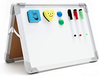 Mini Dry Erase White Board - Foldable, Small Desktop Whiteboard with Smooth Writing Surface - Two-Sided, Portable Magnetic...