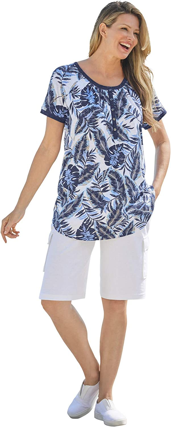 Woman Within Women's Plus Size Banana Leaf Print Henley Shirt in Soft Knit