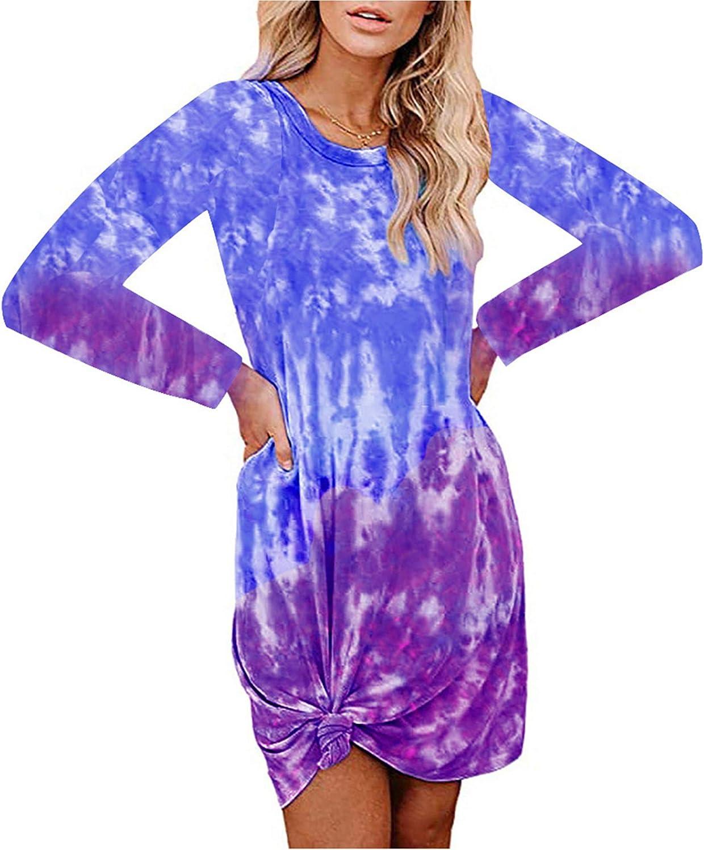 Womens Tie Dye Nightgown Round Neck Long Sleeve Sleepwear Floral Print T Shirt Mid Pajama Dress