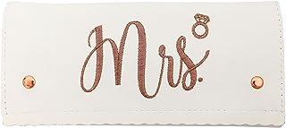 Miamica Women's Tri-fold mrs. Bridal Jewelry Case, Travel Accessory, White, One Size