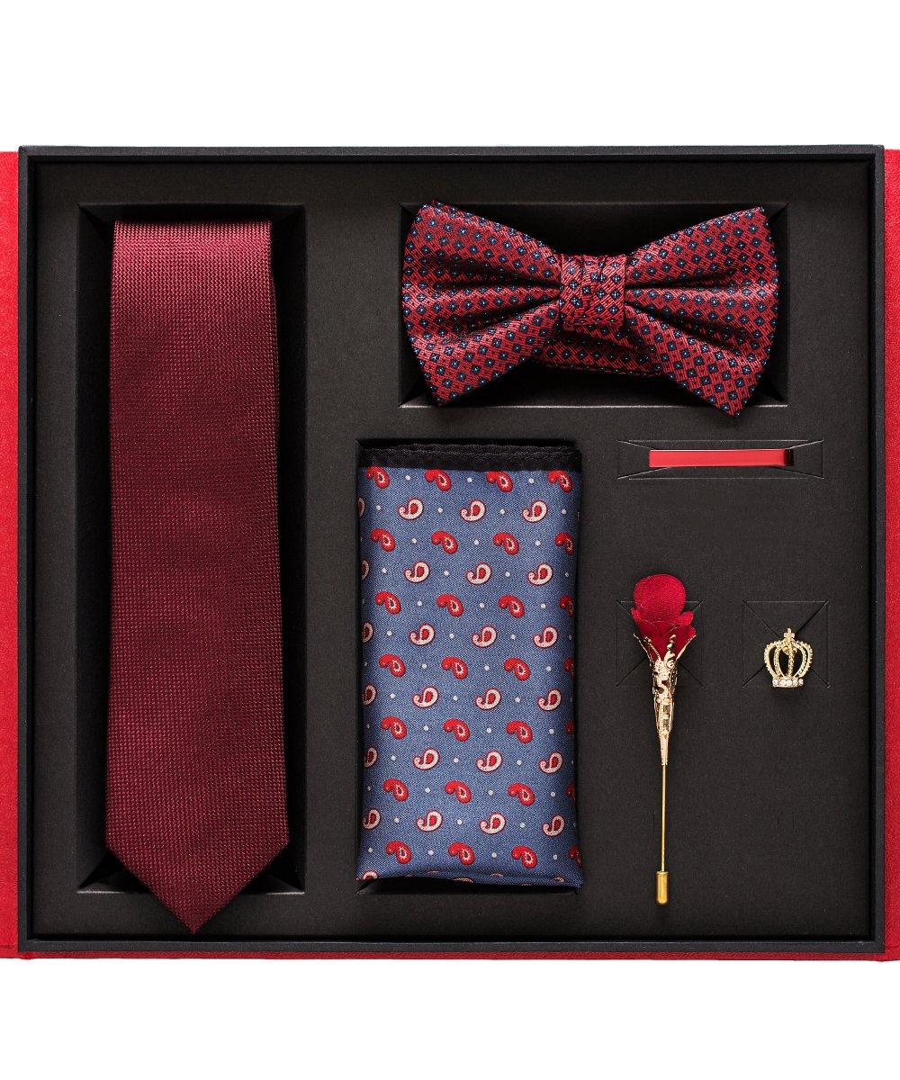ノースマーティンメンズネクタイちょう結びポケットコサージュウェストアップリケギフトセット赤と黒のファッション