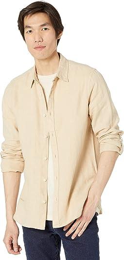 Regular Fit - Garment-Dyed Linen Shirt with Sleeve Roll-Up