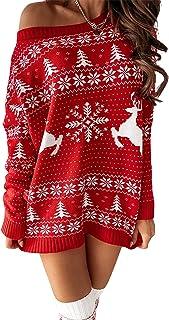 Women's Christmas Off Shoulder Sweater Dresses Long Sleeve Oversized Pullover Snowflake Print Knit Tshirt Dresses