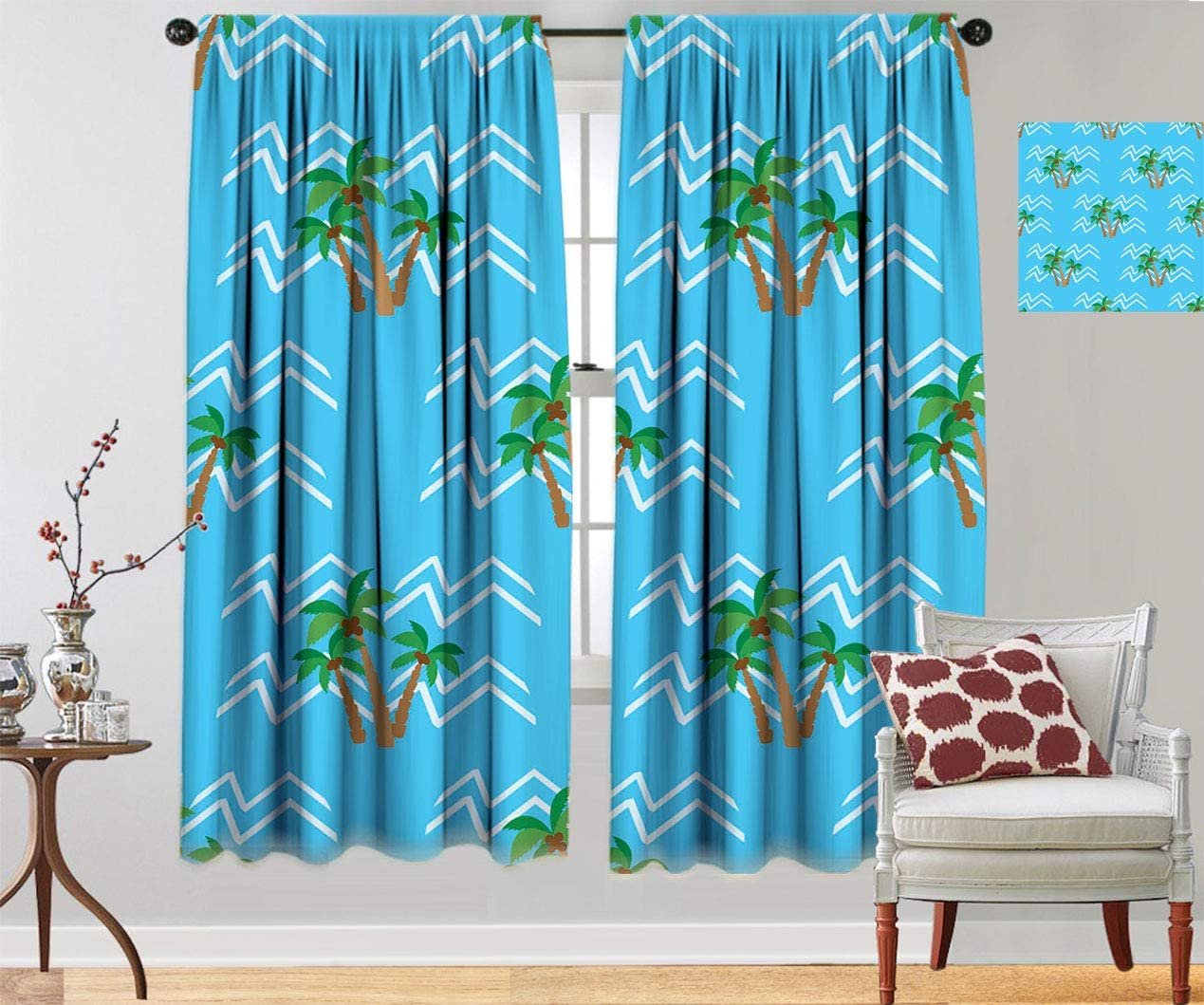 Baltimore Mall Sea Blackout Curtain High quality new Panels Tropical Coconut Pattern Trees Palm