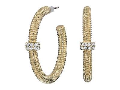 AllSaints Textured Bolt Hoop Earrings (Crystal/Gold) Earring