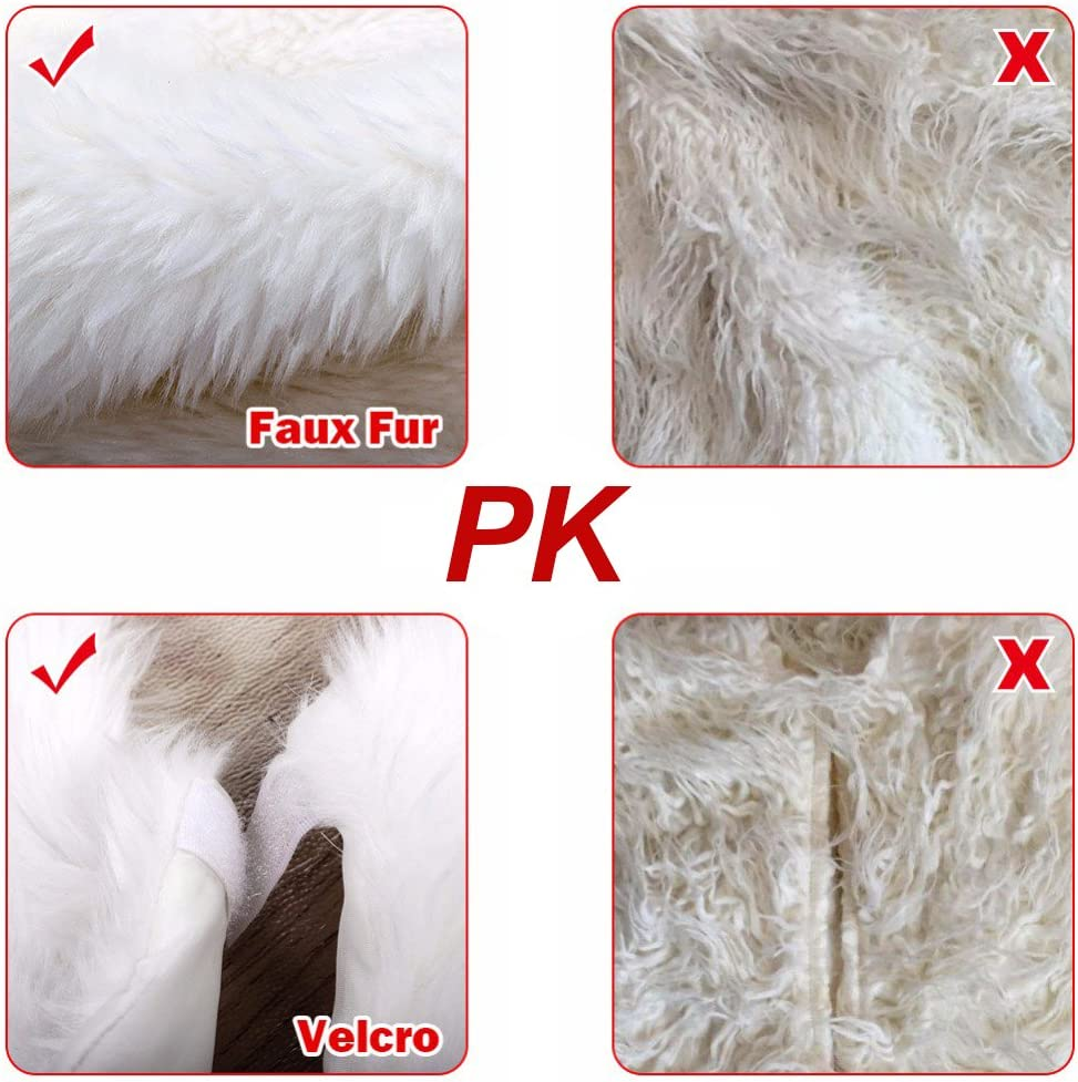 78 CM//31 Inch harupink Faux Fur Christmas Tree Skirt 35 Inch White Long Plush Tree Skirts Mat for Christmas Decorations New Year Holiday Decor