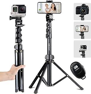 Selfie Stick Tripod, Eocean Portable Phone Tripod Stand with Universal Phone Holder, 142cm Extendable Tripod Stand with Bl...
