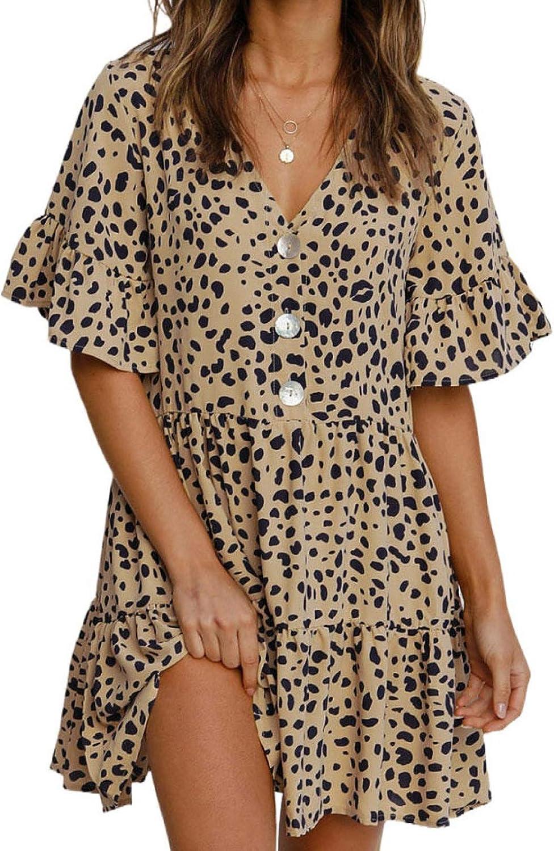 BLENCOT Womens Casual Loose Fitting Swing Summer Tunic Shift Dresses