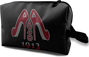 Delta Sigma Theta Cosmetic Bag,Travel Lazy Makeup Toiletry Bag