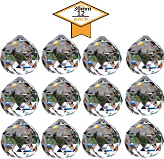 Yoker 30 mm Clear Crystal Ball Prisms Pendant Feng Shui Suncatcher Decorating Hanging Faceted Prism Balls (Pack of 12 Pcs)