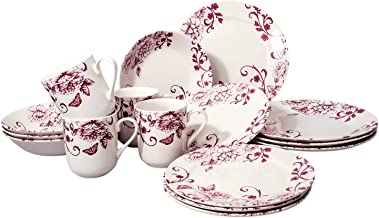 Tudor 16-Piece Premium Quality Round Porcelain Dinnerware Set, Service for 4 - DECO CHIC, See 10 Designs Inside!