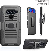Customerfirst Compatible Cover for LG V40/ LG V40 ThinQ 2018 [Magnet Mount Ready] Ring Armor Holster 5 in 1 Rugged Case with Ring Finger Holder, Kickstand + Holster Belt Clip for V40