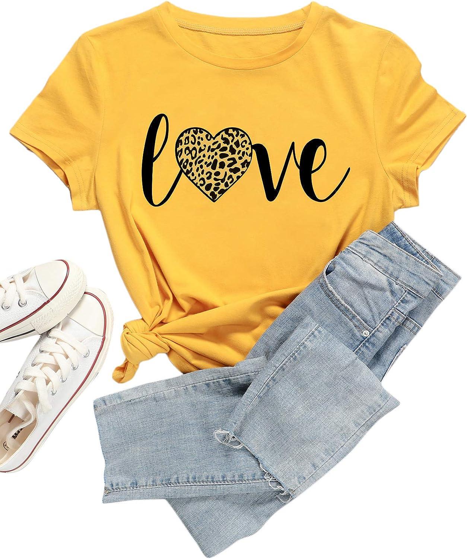 Romwe Women's Plus Size Graphic Heart Print Short Sleeve Basic Tee Tops T Shirt