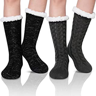 2 Pack Womens Winter Super Soft Thick Fleece Lining Knit Slipper Socks With Grippers
