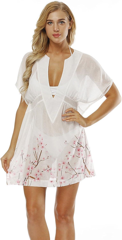 Women Cherry Blossom Oversized Beach Cover Up Swimsuit Bathing Suit Beach Dress